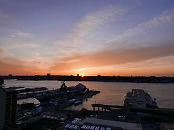 Sunset on Hudson River, New York City, New York, USA