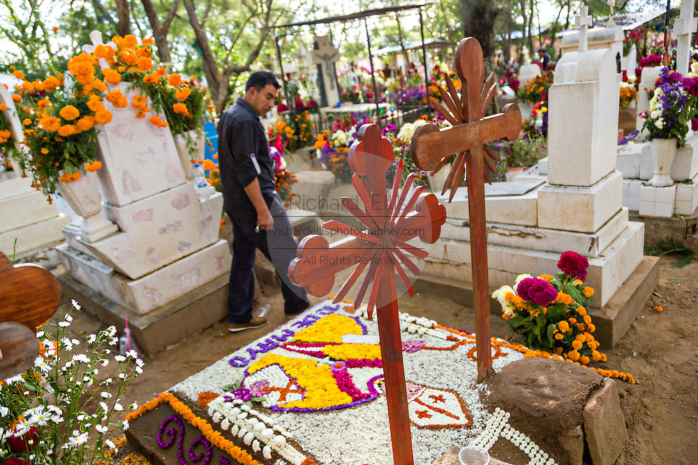 A man walks past gravesites decorated with elaborate floral pedal tapestries in honor of the deceased at the San Antonino Castillo cemetery during the Day of the Dead Festival known as Día de Muertos on November 3, 2013 in San Antonino Castillo Velasco, Oaxaca, Mexico.