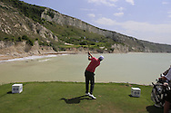 Nicolas Colsaerts (BEL) tees off the ocean bound 9th tee box during Saturday Morning's Last 16 Group of the 2013 Volvo World Matchplay Championship held  at the Thracian Cliffs Golf & Beach Resort, Kavarna, Bulgaria, 18th May 2013..Picture: Eoin Clarke www.golffile.ie.
