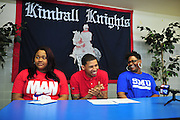 High school basketball star Keith Frazier signs to play for SMU at Kimball High School in Dallas with his sister Kawontas Williams and mother Sherry Pulliam on Wednesday, April 17, 2013. (Cooper Neill/The Dallas Morning News)