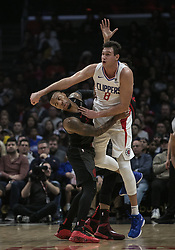December 17, 2018 - Los Angeles, California, United States of America - Danilo Gallinari #8 of the Los Angeles Clippers is held by Damian Lillard #0 of the Portland Trailblazers during their NBA game on Monday December 17, 2018 at the Staples Center in Los Angeles, California. Clippers lose to Trailblazers, 127-131. JAVIER ROJAS/PI (Credit Image: © Prensa Internacional via ZUMA Wire)