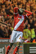 Albert Adomah during the Sky Bet Championship Play Off Second Leg match between Middlesbrough and Brentford at the Riverside Stadium, Middlesbrough, England on 15 May 2015. Photo by Simon Davies.