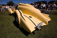 """PEBBLE BEACH, CA - AUGUST 19: The back end of the 1935 Duesenberg SJ Speedster also known as the """"Mormon Meteor"""" at the 2007 Pebble Beach Concours d'Elegance on August 19, 2007 in Pebble Beach, California.  Awarded the best of show in this years Concours, this car was driven by racer Ab Jenkins and set a land speed record in 1935, hitting an average speed of 135.58 miles per hour over a 24 hour period. (Photo by David Paul Morris)"""