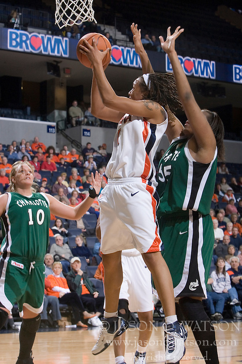 Virginia Cavaliers Forward Lyndra Littles (1) shoots over Charlotte 49ers foward Danielle Burgin (55).  The Virginia Cavaliers women's basketball team defeated The University of North Carolina - Charlotte 49ers 74-72 in the 2nd round of the Women's NIT at John Paul Jones Arena in Charlottesville, VA on March 19, 2007.