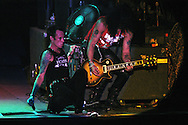 "ATLANTIC CITY, NJ - JUNE 26: Velvet Revolver's Scott Weiland (L), and Slash perform at the Maxim Magazine Presents ""Fantasy Island"" at the Borgata Hotel Casino and Spa June 26, 2004 in Atlantic City, New Jersey. The event consisted of two music stages and four unique themed areas, providing a wide array of entertainment for guests; South Beach Venice Beach, Stuffland, and The Oasis. (Photo by William Thomas Cain/Getty Images)"