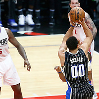 11 January 2017: Orlando Magic forward Aaron Gordon (00) takes a jump shot during the LA Clippers 105-96 victory over the Orlando Magic, at the Staples Center, Los Angeles, California, USA.
