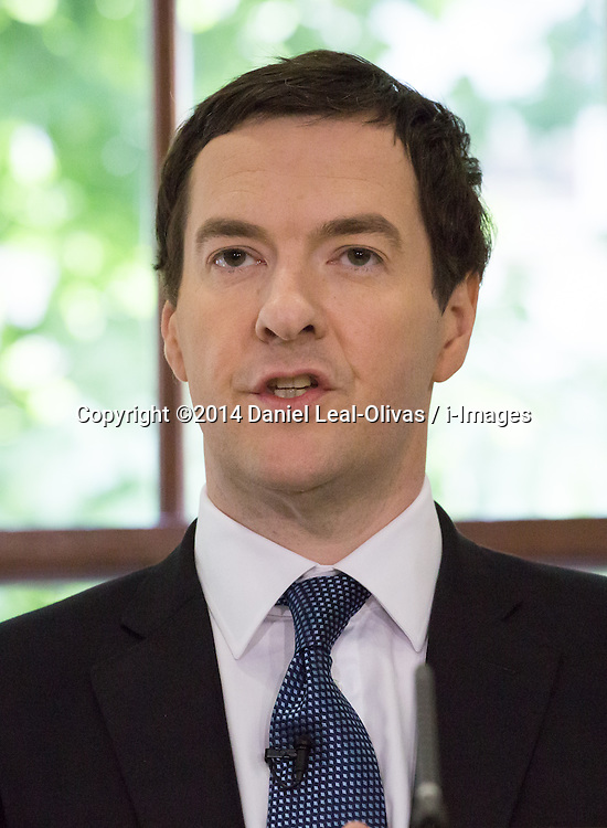 Image ©Licensed to i-Images Picture Agency. 06/06/2014. London, United Kingdom. George Osborne speaks about global economy and UK economy recovery at HM Treasury. Picture by Daniel Leal-Olivas / i-Images