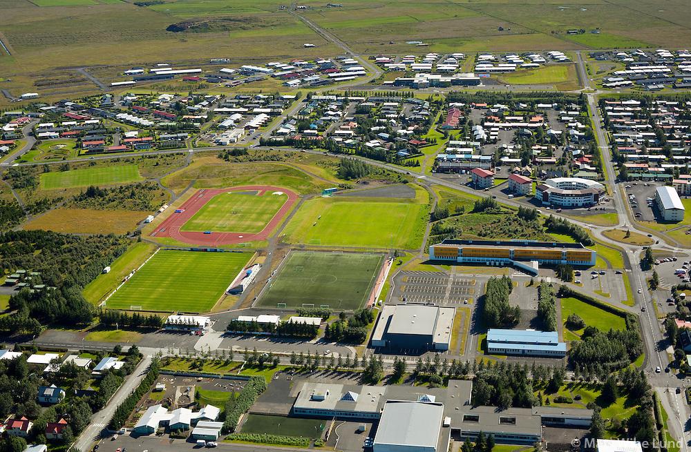 Selfoss - íþrottavellir séð til suðurs. Sveitarfélagið Árborg /  Selfoss sports grounds viewing south, Sveitarfelagid Arborg.
