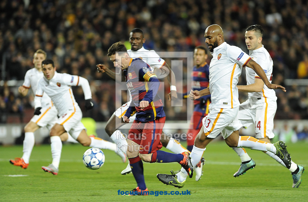 Lionel Messi of FC Barcelona scores his second goal during the UEFA Champions League match at Camp Nou, Barcelona<br /> Picture by Stefano Gnech/Focus Images Ltd +39 333 1641678<br /> 24/11/2015