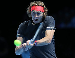 November 14, 2018 - Londres, Angleterre - Germany's  Alexander Zverev  (GER) pictured during his second  round -robin match of The Nitto ATP Finals 2018 at  The O2 Arena, London (Credit Image: © Panoramic via ZUMA Press)