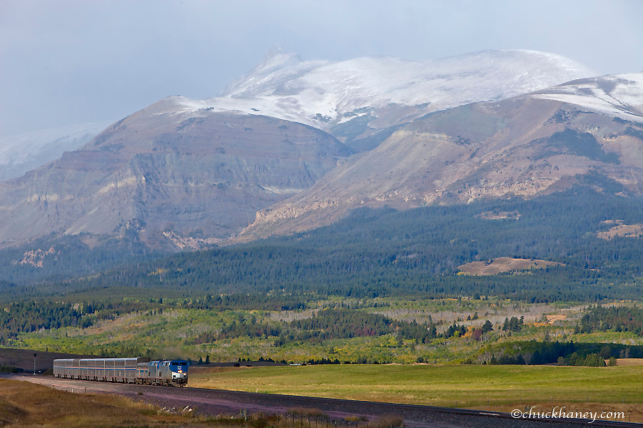 AMTRAK passenger trains The Empire Builder rolls out of East Glacier Montana heading east