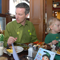 Santa Monica Councilmember Terry O'Day with his daughters Teagan, 5, and Taryn, 3, eat a traditional Irish breakfast at Finn McCool's during St. Patrick's Day March 17, 2010. Terry O'Day is a 12 year resident of Santa Monica. He served on the Planning Commission for 6 years until 2009, and was appointed to the Santa Monica City Council on February 23, 2010, replacing the late Mayor Ken Genser.