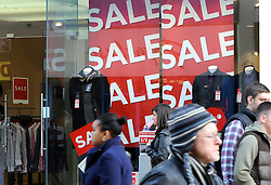 ©London News Pictures. 24/12/2010. Sale signs in Bromley High Street as High Street shops reduce their prices to attract customers for the Boxing Day sales. Photo credit should read Grant Falvey /London News Pictures.