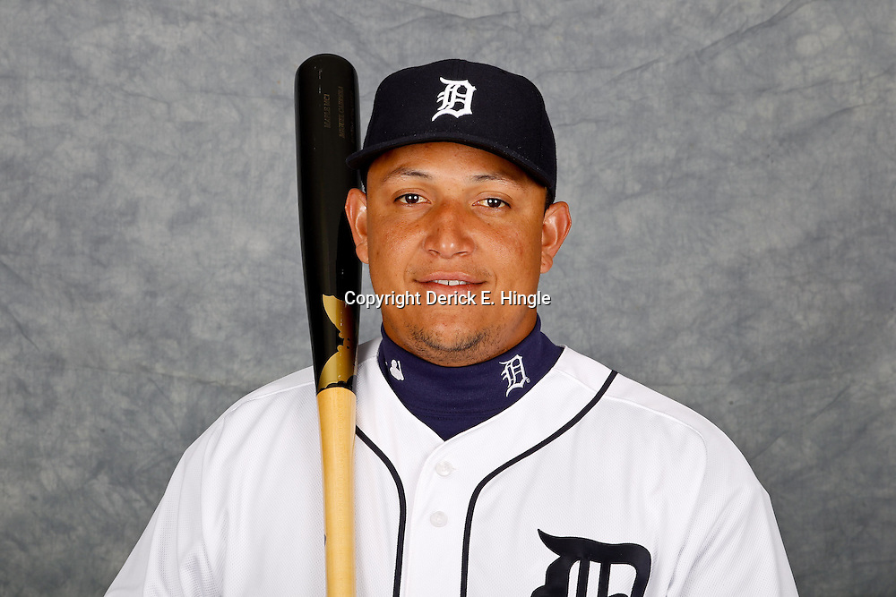 February 28, 2012; Lakeland, FL, USA; Detroit Tigers third baseman Miguel Cabrera (24) poses for photo day in the rec room at the Detroit Tigers Headquarters.  Mandatory Credit: Derick E. Hingle-US PRESSWIRE