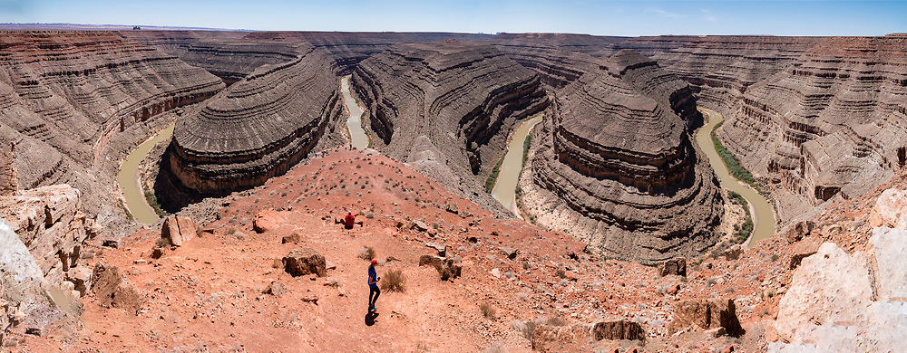 Goosenecks State Park overlooks a deep meander of the San Juan River near Mexican Hat, Utah, USA. Millions of years ago, the Monument Upwarp forced the river to carve meanders over 1,000 feet deep (300 m) as the surrounding landscape slowly rose in elevation. This image was stitched from multiple overlapping photos.