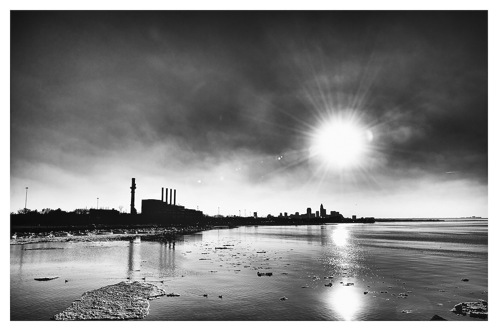 Black and White image of the Cleveland skyline looking West over Lake Erie during winter.