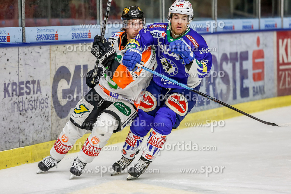 23.10.2014, Eisstadion Liebenau, Graz, AUT, EBEL, Moser Medical Graz 99ers vs EC VSV, 13. Runde, im Bild von links Stefan Lassen (Moser Medical Graz 99ers) und Brock McBride (EC VSV) // from left Stefan Lassen (Moser Medical Graz 99ers) and Brock McBride (EC VSV) during the Erste Bank Icehockey League 13th Round match between Moser Medical Graz 99ers and EC VSV at the Ice Stadium Liebenau, Graz, Austria on 2014/10/23, EXPA Pictures © 2014, PhotoCredit: EXPA/ Erwin Scheriau