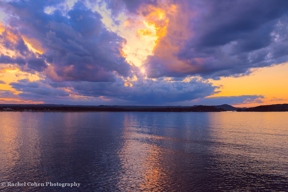 &quot;Dream Weaver&quot; <br /> <br /> Beautiful dramatic clouds in shades of purple and gold at sunset. Lake Superior is lit up with reflections of the sky!