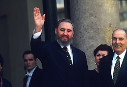 Francois Mitterrand receives Fidel Castro at Elysee in Paris on March 13, 1995. Photo by Mousse/ABACAPRESS.COM  | 223978_010 Paris France