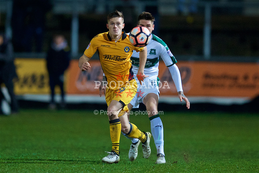 NEWPORT, WALES - Wednesday, December 21, 2016: Newport County's Rhys Healey in action against Plymouth Argyle during the FA Cup 2nd Round Replay match at Rodney Parade. (Pic by David Rawcliffe/Propaganda)