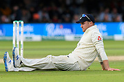 Jason Roy of England sitting down on the outfield as the players take drinks during the International Test Match 2019 match between England and Australia at Lord's Cricket Ground, St John's Wood, United Kingdom on 18 August 2019.