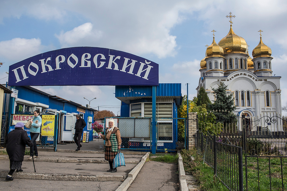 Saint Pokrovsky Russian Orthodox Church on Thursday, October 16, 2014 in Donetsk, Ukraine. Photo by Brendan Hoffman, Freelance