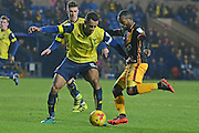 Bradford City midfielder Mark Marshall (7) takes on Oxford United defender Curtis Nelson (5) 0-0 during the EFL Trophy match between Oxford United and Bradford City at the Kassam Stadium, Oxford, England on 31 January 2017. Photo by Alan Franklin.