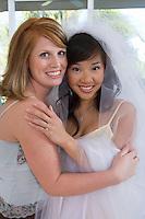 Bride and bridesmaid at bridal shower