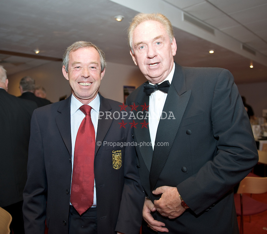 CARDIFF, WALES - Tuesday, October 7, 2008: Wales' Under-21 manager Brian Flynn with travel organiser Tony Clemmo at the Brains Beer Wales Football Awards at the Millennium Stadium. (Photo by David Rawcliffe/Propaganda)