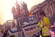 Protesters on top of truck at the  First Criminal Justice March. Trafalgar Square, London,UK.1st of May 1994.