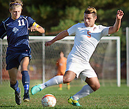 Pennsbury's Javier Sosa (5) dribbles the ball around Council Rock North's Conor O'Donnell (11) in the first half against Tuesday October 18, 2016 at Pennsbury High School in Fairless Hills, Pennsylvania.  (Photo by William Thomas Cain)
