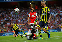 27.08.2013, Emirates Stadion, London, ENG, UEFA CL Qualifikation, FC Arsenal vs Fenerbahce Istanbul, Rueckspiel, im Bild Arsenal's Bacary Sagna and Fernerbache's Raul Meireles during the UEFA Champions League Qualifier second leg match between FC Arsenal and Fenerbahce Istanbul at the Emirates Stadium, United Kingdom on 2013/08/27. EXPA Pictures © 2013, PhotoCredit: EXPA/ Mitchell Gunn<br /> <br /> ***** ATTENTION - OUT OF GBR *****