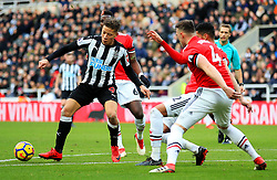 Dwight Gayle of Newcastle United attacks - Mandatory by-line: Matt McNulty/JMP - 11/02/2018 - FOOTBALL - St James Park - Newcastle upon Tyne, England - Newcastle United v Manchester United - Premier League