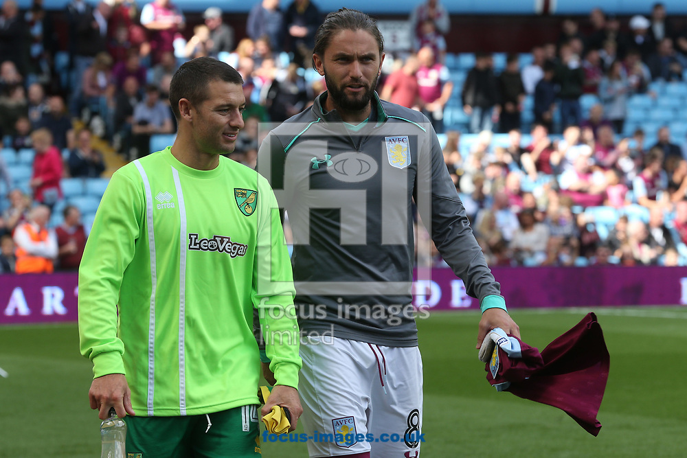 Wes Hoolahan of Norwich and Henri Lansbury of Aston Villa before the Sky Bet Championship match at Villa Park, Birmingham<br /> Picture by Paul Chesterton/Focus Images Ltd +44 7904 640267<br /> 19/08/2017