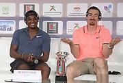 Omar McLeod (JAM), left, and Sergey Shubenkov (RUS) at an IAAF Diamond League press conference prior to the  Meeting International Mohammed VI d'Athletisme de Rabat 2019, Saturday, June 15, 2019, in Rabat, Morocco. (Image of Sport)