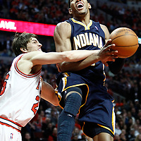 CHICAGO, IL - APR 18: Danny Granger #33 of the Indiana Pacers is fouled by Kyle Korver #26 of the Chicago Bulls during game 2 of the Eastern Conference First Round at the United Center on April 18, 2011 in Chicago, IL. NOTE TO USER: User expressly acknowledges and agrees that, by downloading and or using this photograph, User is consenting to the terms and conditions of the Getty Images License Agreement. Mandatory Credit: 2011 NBAE (Photo by Chris Elise/NBAE via Getty Images)