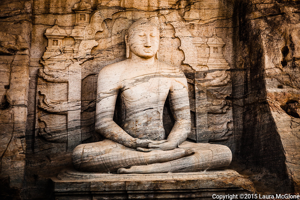 Seated Stone Buddha at Gal Vihara (Rock Temple), Polonnaruwa, Sri Lanka