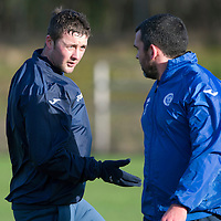 St Johnstone Training…..29.01.16<br />Tam Scobbie pictured with Callum Davidson during training at McDiarmid Park this morning ahead of tomorrow's League Cup semi-final against Hibs at Tynecastle<br />Picture by Graeme Hart.<br />Copyright Perthshire Picture Agency<br />Tel: 01738 623350  Mobile: 07990 594431