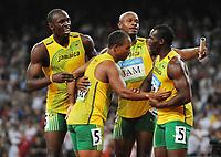Friidrett<br /> OL 2008 Beijing<br /> 22.08.2008<br /> Foto: imago/Digitalsport<br /> NORWAY ONLY<br /> <br /> 4x100m Staffel Olympiasieger Jamaica v.li.: Usain Bolt, Michael Frater, Asafa Powell, Nesta Carter<br /> <br /> BILDET INNGÅR IKKE I FASTPAKKER