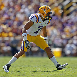 October 1, 2011; Baton Rouge, LA, USA;  LSU Tigers cornerback Tyrann Mathieu (7) against the Kentucky Wildcats during the first half at Tiger Stadium.  Mandatory Credit: Derick E. Hingle-US PRESSWIRE / © Derick E. Hingle 2011