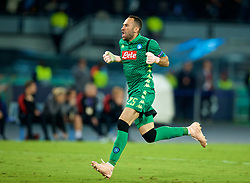 NAPLES, ITALY - Wednesday, October 3, 2018: Napoli's Napoli's goalkeeper David Ospina celebrates his side's injury time winning goal during the UEFA Champions League Group C match between S.S.C. Napoli and Liverpool FC at Stadio San Paolo. Napoli won 1-0. (Pic by David Rawcliffe/Propaganda)