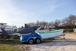 plastic shark on a boat tow in Montauk, NY