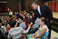 November 22, 2010 - Massachusetts Governor Deval Patrick speaks with a group of 4th graders at the Oaklandvale Elementary School in Saugus  about reading to celebrate Family Literacy Month and congratulate them and their teachers on their recent success in academic achievement.