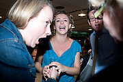 LOUISA CLEIN WITH HER  JEREMY BRIER SHOWING HER ENGAGEMENT RING, Press night for the Railway Children. Waterloo Station in the old Euroster terminal. 12 July 2010. -DO NOT ARCHIVE-© Copyright Photograph by Dafydd Jones. 248 Clapham Rd. London SW9 0PZ. Tel 0207 820 0771. www.dafjones.com.