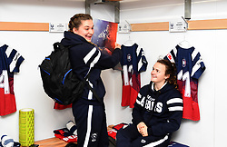 Lilly Stoeger-Goddard and Cat McNaney of Bristol Bears Women admire team-mates's photo in the match day programme - Mandatory by-line: Paul Knight/JMP - 01/12/2018 - RUGBY - Shaftesbury Park - Bristol, England - Bristol Bears Women v Harlequins Ladies - Tyrrells Premier 15s
