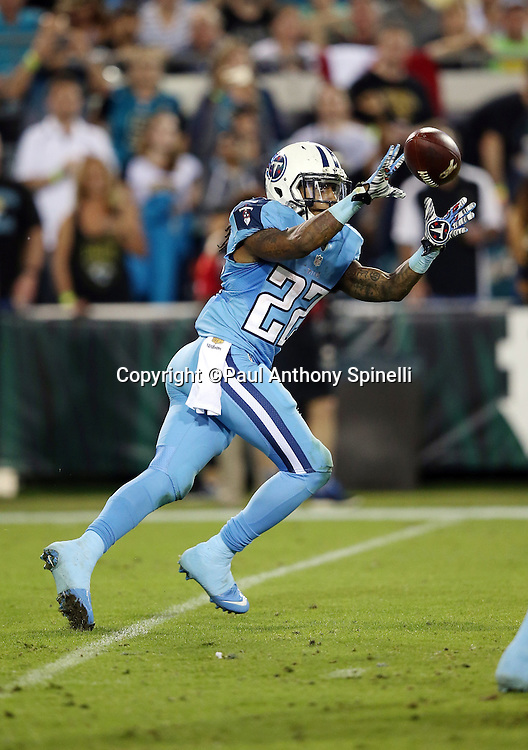 Tennessee Titans running back Dexter McCluster (22) catches a pass during the 2015 week 11 regular season NFL football game against the Jacksonville Jaguars on Thursday, Nov. 19, 2015 in Jacksonville, Fla. The Jaguars won the game 19-13. (©Paul Anthony Spinelli)