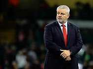 Head Coach Warren Gatland of Wales during the pre match warm up<br /> <br /> Photographer Simon King/Replay Images<br /> <br /> Under Armour Series - Wales v South Africa - Saturday 24th November 2018 - Principality Stadium - Cardiff<br /> <br /> World Copyright &copy; Replay Images . All rights reserved. info@replayimages.co.uk - http://replayimages.co.uk