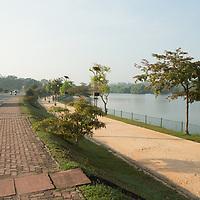 Road next to urban wetland, Diyawanna Lake, Colombo, Sri Lanka
