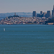 San Francisco skyline view from Marin Headlands in the daytime with zoom/telephoto lens.