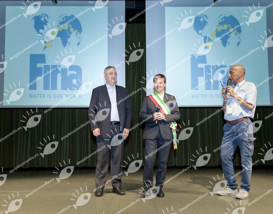 (L to R) Giorgio Gori Mayor Bergamo; Paolo Barelli FIN President<br /> Opening Ceremony<br /> day 00 - 22/06/2015<br /> FINA Water Polo World League Superfinal Men<br /> Bergamo (ITA) 23-28 June 2015<br /> Photo G.Scala/Deepbluemedia